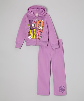Purple 'Love' Zip-Up Hoodie & Sweatpants - Girls