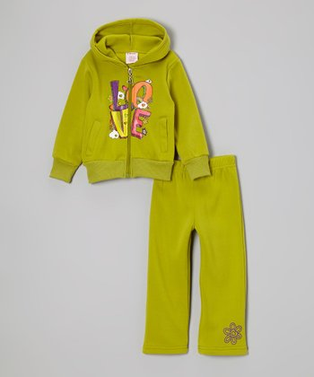 Green 'Love' Zip-Up Hoodie & Sweatpants - Girls
