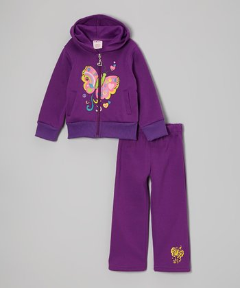 Purple Butterfly Zip-Up Hoodie & Sweatpants - Toddler & Girls
