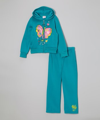 Blue Butterfly Zip-Up Hoodie & Sweatpants - Toddler & Girls
