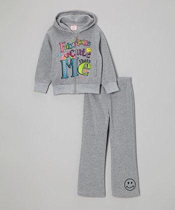 Gray 'Fabulous' Zip-Up Hoodie & Sweatpants - Girls