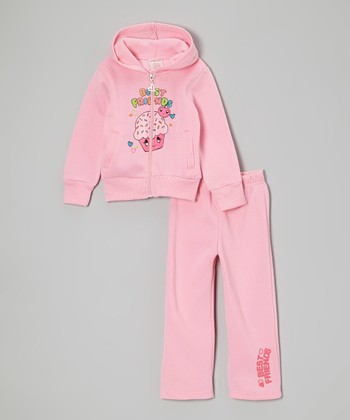 Pink 'Best Friends' Zip-Up Hoodie & Sweatpants - Girls