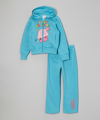 Blue 'Best Friends' Zip-Up Hoodie & Sweatpants - Girls