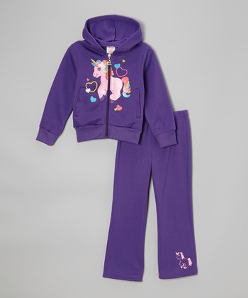 Purple Unicorn Zip-Up Hoodie & Sweatpants - Toddler & Girls