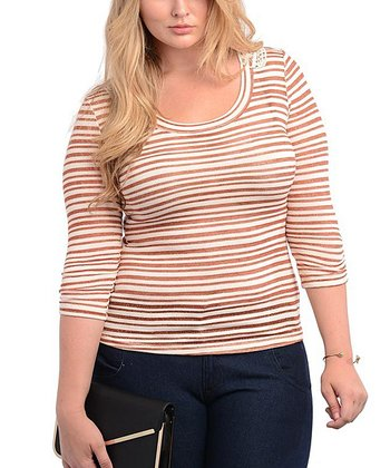 Ivory & Rust Sheer Stripe Three-Quarter Sleeve Top - Plus