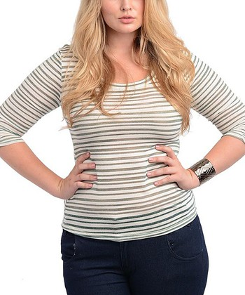 Ivory & Green Sheer Stripe Three-Quarter Sleeve Top - Plus