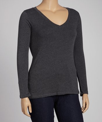 Charcoal Solid Long-Sleeve Top - Plus