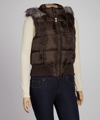 Mocha Hooded Puffer Vest - Plus
