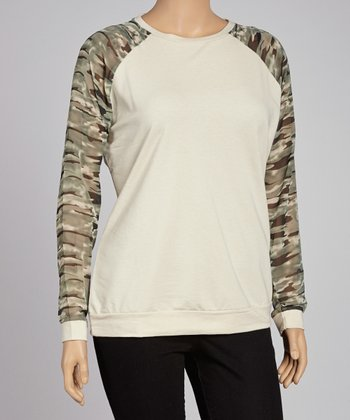 Oatmeal & Olive Camo Raglan Top - Plus