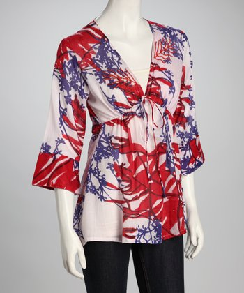 Red & Blue Feather Floral Top