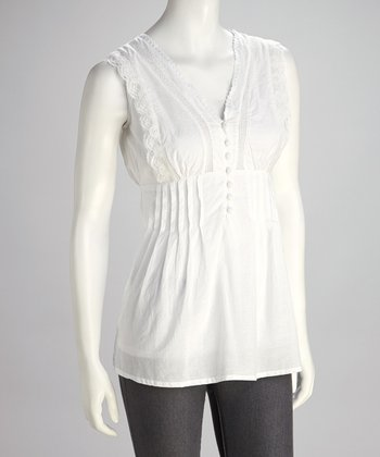 White Lace Pleated Sleeveless Top