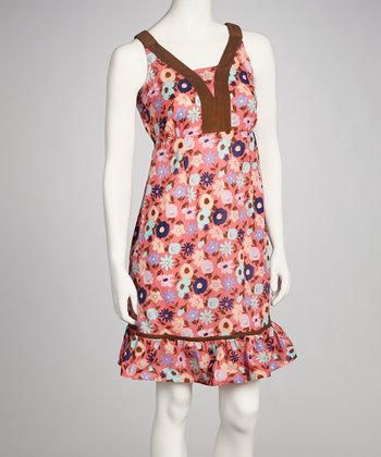 Rose Pink Floral Sleeveless Dress