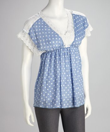 Blue Polka Dot Lace Top