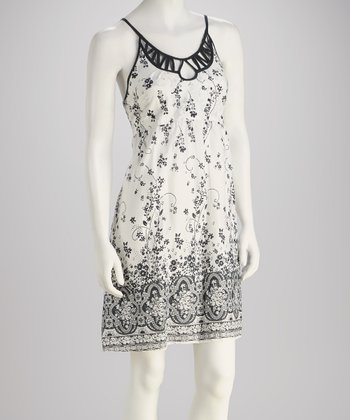 White & Black Print Dress