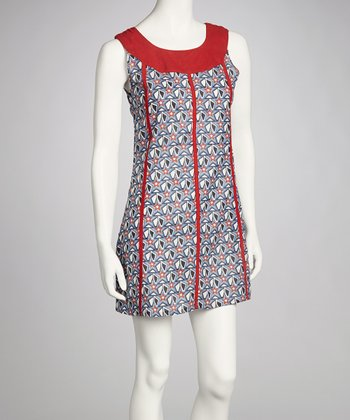 Sky Blue & Red Star Yoke Dress