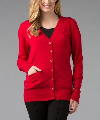 Red Boyfriend Cardigan
