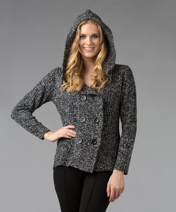 Black & White Marled Hooded Cardigan