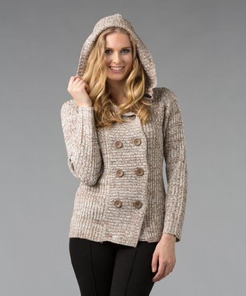 Ivory Marled Hooded Cardigan