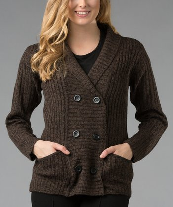 Brown Pocketed Cardigan