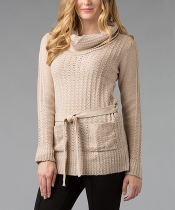 Oatmeal Textured Cowl Neck Sweater