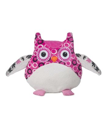 White & Pink Bellapops Circle Owl Plush Toy