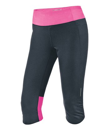Anthracite & Heather Brite Pink Essential Capri - Women