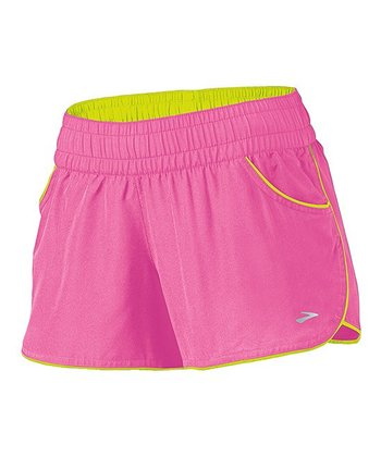Brite Pink & Nightlife Versatile Low-Rise Woven Shorts - Women