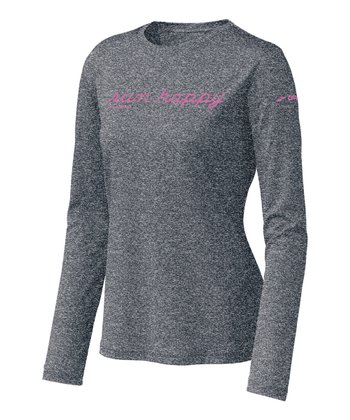 Anthracite EZ T 'Run Happy' Long-Sleeve Top - Women
