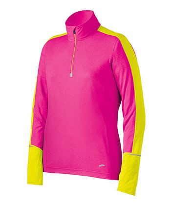 Brite Pink & Nightlife Essential Long-Sleeve Zip-Up - Women