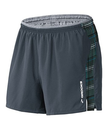 Anthracite & Cyan Plaid Essential Run Shorts - Men