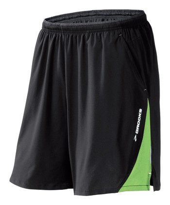 Black & Brite Green Rogue Runner III Shorts - Men