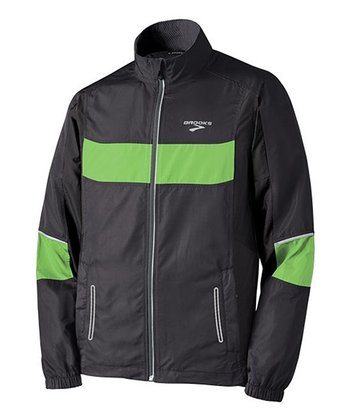 Black & Brite Green Nightlife Essential Run Jacket III - Men