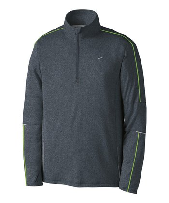 Anthracite & Brite Green Essential Run Long-Sleeve Zip-Up - Men