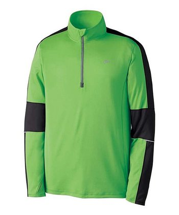 Brite Green Nightlife Essential Run Long-Sleeve Zip-Up - Men