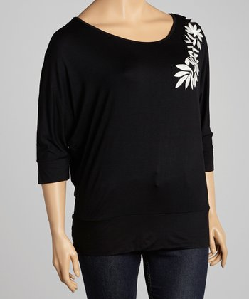 Black Embroidered Top - Plus