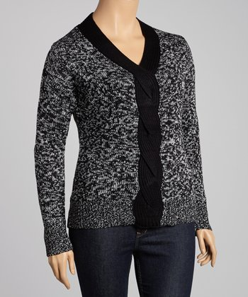 Ivory & Black Marled Cable-Knit Sweater - Plus