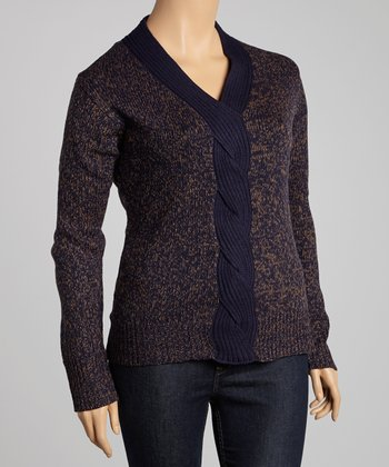 Wood & Black Marled Cable-Knit Sweater - Plus