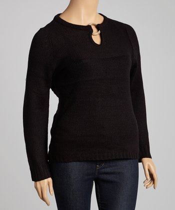 Black Wood Ring Keyhole Sweater - Plus