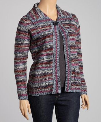 Fuchsia Rainbow Stripe Cardigan - Plus