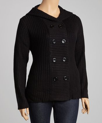 Black Double-Breasted Hooded Cardigan - Plus