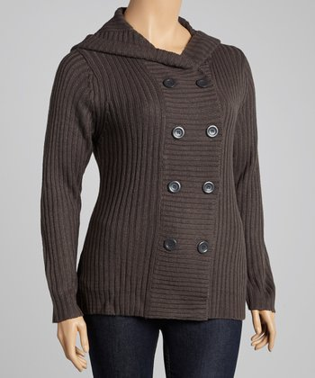 Charcoal Double-Breasted Hooded Cardigan - Plus