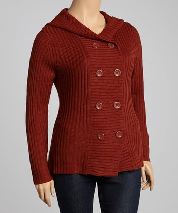 Rust Double-Breasted Hooded Cardigan - Plus