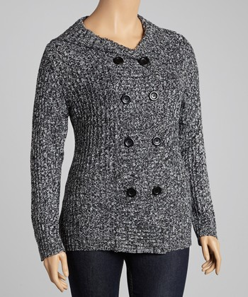 Black Marled Hooded Cardigan - Plus