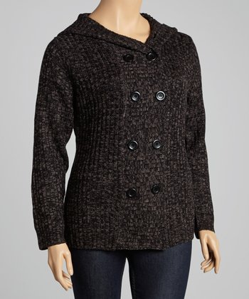 Charcoal Marled Hooded Cardigan - Plus