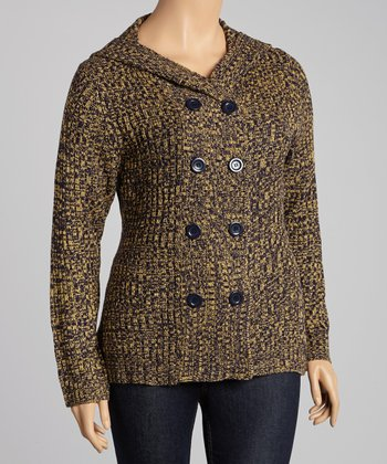 Gold Marled Hooded Sweater - Plus
