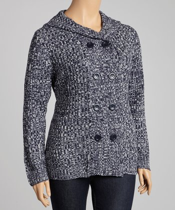Navy Marled Hooded Cardigan - Plus
