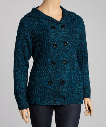 Peacock Marled Hooded Cardigan - Plus