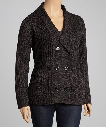 Charcoal Double-Breasted Cardigan - Plus