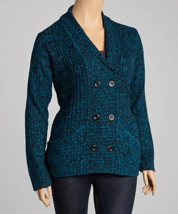 Peacock Double-Breasted Cardigan - Plus