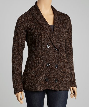 Taupe Double-Breasted Cardigan - Plus